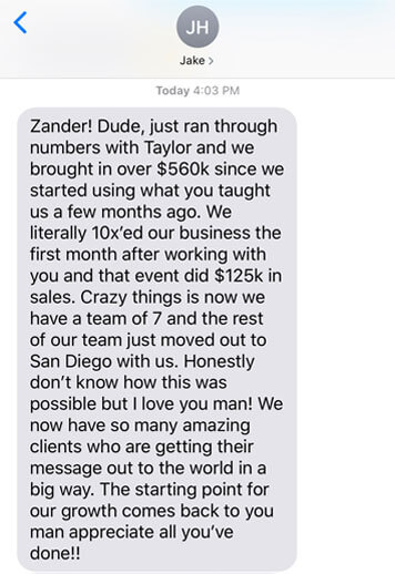 Zander Fryer's Client Jake text message about getting more clients and sales